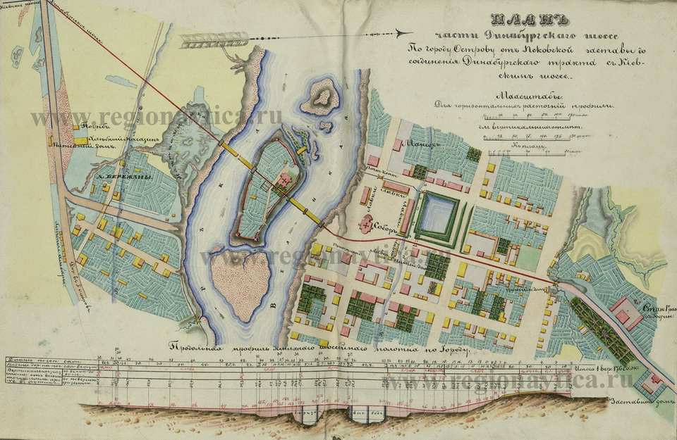 План-схема г.Остров с мостами